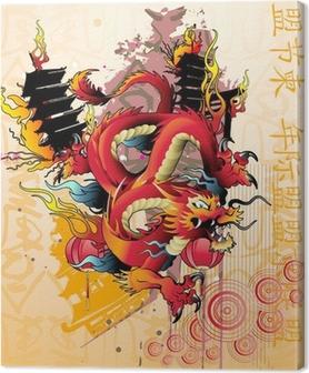 Obraz na płótnie Japoński smok wektor