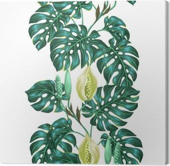 Obraz na płótnie Jednolite wzór z liści Monstera. Obraz dekoracyjne tropikalnych liści i kwiatów. Tło wykonane bez wycinek maska. Łatwy w obsłudze dla tło, tekstylia, papier pakowy