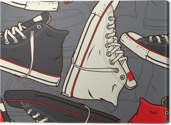 Obraz na płótnie Jednolite wzór z sneakers Vector tle.
