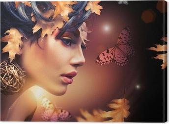 Obraz na płótnie Jesień portret kobieta mody. spadek