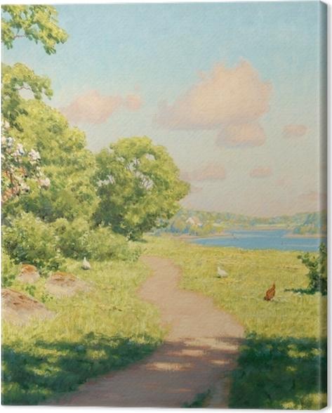 Obraz na płótnie Johan Krouthén - Krajobraz z kurami - Reproductions