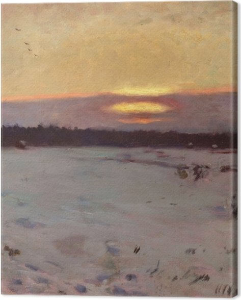 Obraz na płótnie Józef Chełmoński - Zachód słońca zimą - Reproductions