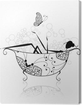 Obraz na płótnie Kobieta w łazience z pianki do projektowania