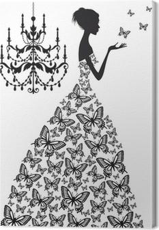 Obraz na płótnie Kobieta z motylami, wektor