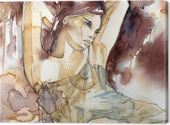 Obraz na płótnie Kobieta z rękoma pod głową