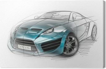 Obraz na płótnie Koncepcji szkic samochodu. oryginalny design samochodu.