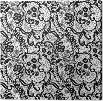 Obraz na płótnie Koronki czarnego powtarzalne z kwiatów na białym tle
