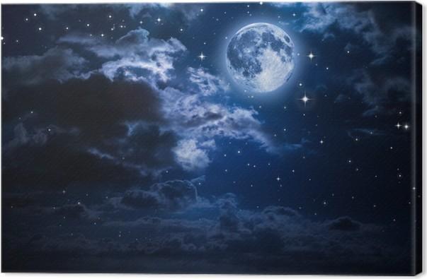 Obraz na Płótnie Księżyc i chmury w nocy - Księżyc