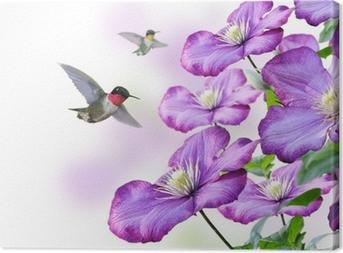 Obraz na płótnie Kwiaty i kolibry