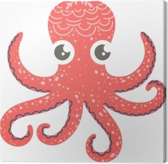 Obraz na płótnie Ładny ilustracja ośmiornicy na wystrój przedszkola, wydruki i plakaty, doodle styl ilustracji. wektor