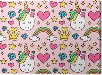Obraz na płótnie Ładny jednorożec, koncepcja księżniczki, dziewczyna piękna wzór na białym tle na różowym tle. wektor kreskówka. magia, baśń, serce, tęcza, korona, gwiazdy, diament