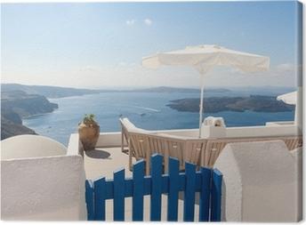 Obraz na płótnie Ławka na tarasie z widokiem na Caldera Santorini Grecja