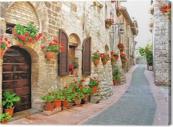 Obraz na płótnie Malownicze lane z kwiatami we włoskim wzgórzu miasta