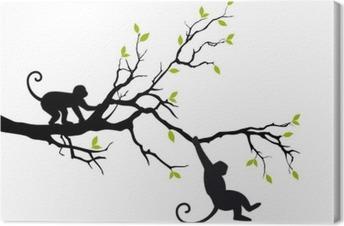 Obraz na płótnie Małpy na drzewie, wektor