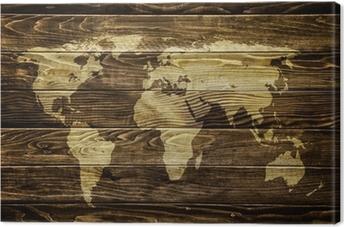 Obraz na płótnie Mapa świata na tle drewna