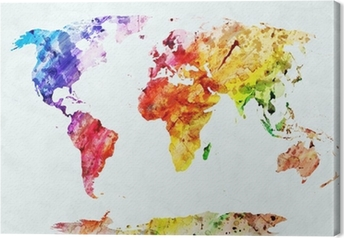 Obraz na płótnie Mapa świata w akwareli