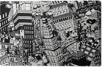 Obraz na płótnie Miasto, ilustracja dużego kolażu, z domami, samochodami i ludźmi