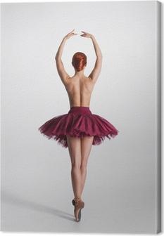 Obraz na płótnie Młoda naga rudowłosy tancerka baletu w studiu