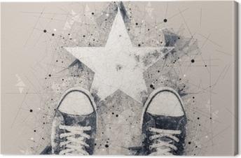 Obraz na płótnie Młody człowiek na drodze z nadrukiem w kształcie gwiazdy