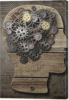Obraz na płótnie Model mózgu z drewna, zardzewiałych narzędzi metalowych i zębów
