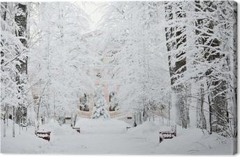 Obraz na płótnie Mroźna zima śnieg krajobraz lasu