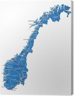 Obraz na płótnie Norwegia mapa