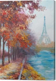 Obraz na płótnie Obraz olejny z wieży Eiffla, Francja, krajobraz jesienią