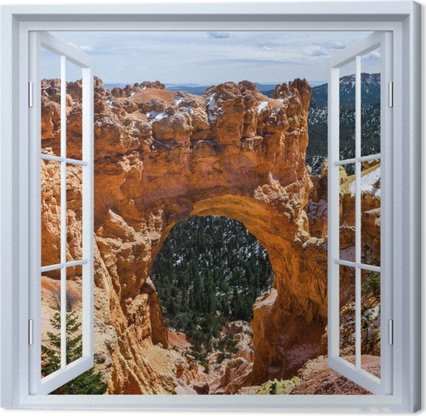 Obraz na płótnie Okno białe otwarte - Kanion - Widok przez okno