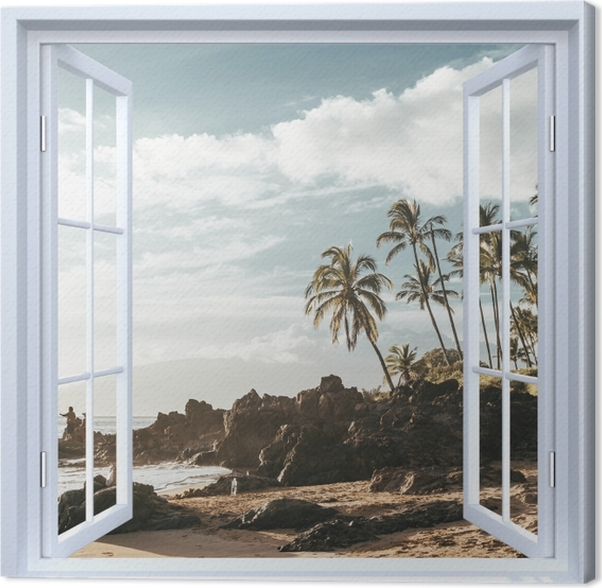 Obraz na płótnie Okno białe otwarte - Palmy. Hawaje. - Widok przez okno