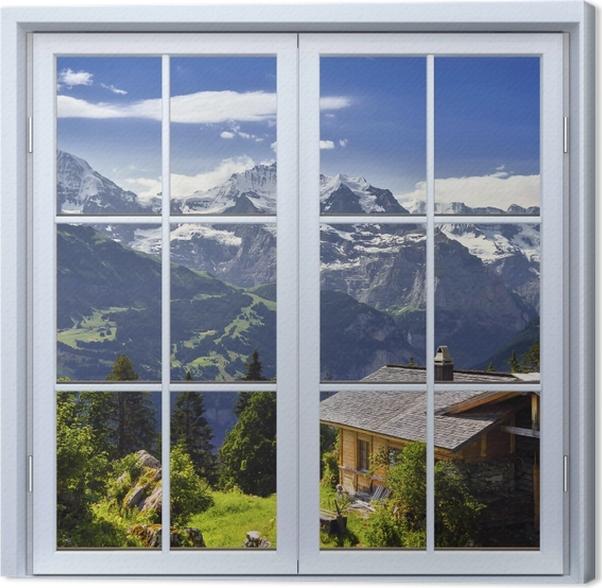 Obraz na płótnie Okno białe zamknięte - Góry - Widok przez okno