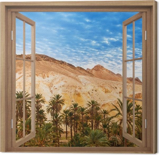 Obraz na płótnie Okno brązowe otwarte - Górskie oazy -