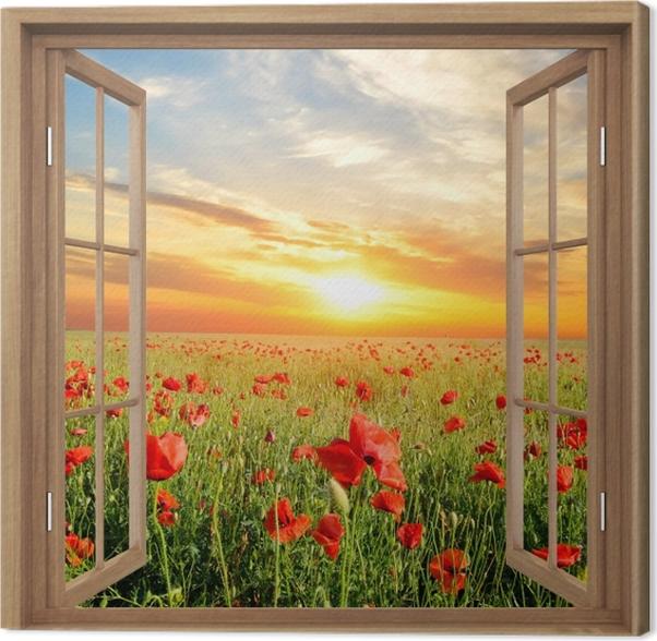 Obraz na płótnie Okno brązowe otwarte - Pole maku -