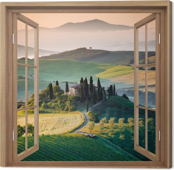 Obraz na płótnie Okno brązowe otwarte - Toskania -