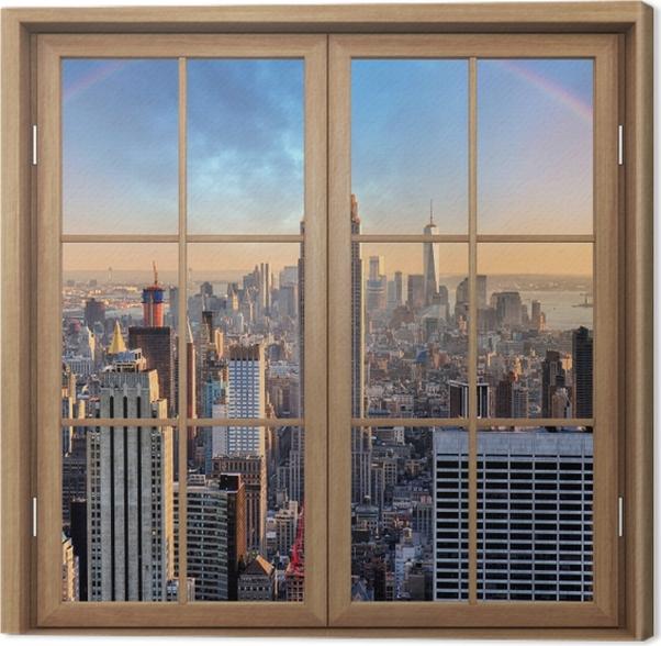 Obraz na płótnie Okno brązowe zamknięte - Nowy Jork - Widok przez okno