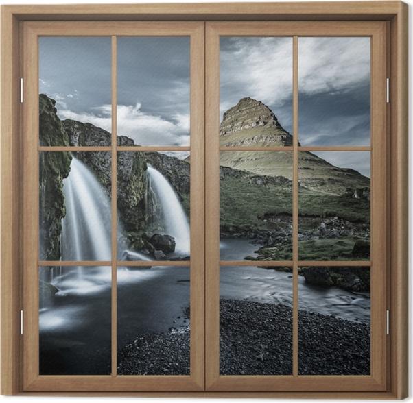 Obraz na płótnie Okno brązowe zamknięte - Wodospad. Islandia. - Widok przez okno