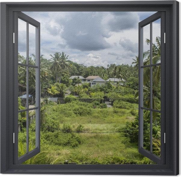 Obraz na płótnie Okno czarne otwarte - Pole ryżowe - Widok przez okno
