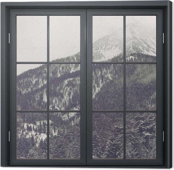 Obraz na płótnie Okno czarne zamknięte - Chmury - Widok przez okno
