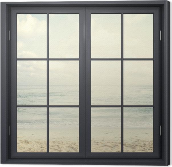 Obraz na płótnie Okno czarne zamknięte - Plaża w lecie - Widok przez okno