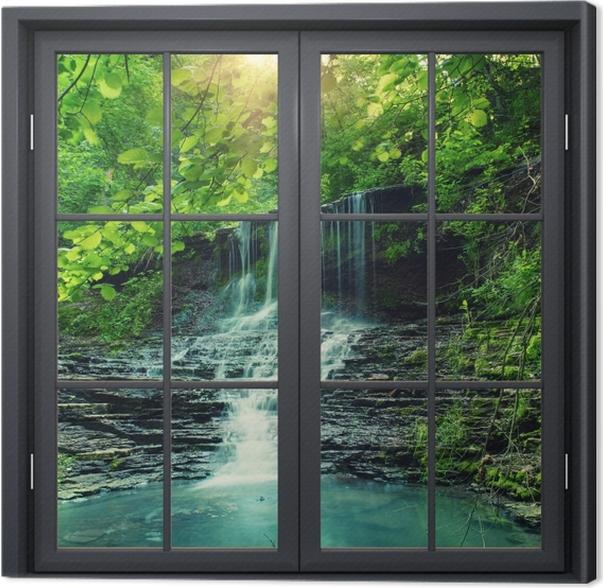 Obraz na płótnie Okno czarne zamknięte - Wodospad - Widok przez okno