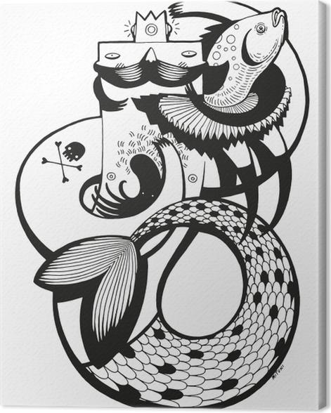 Obraz na płótnie Pan Syrena i ryba -