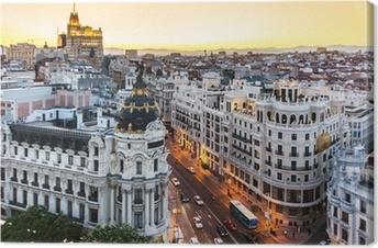 Obraz na płótnie Panoramiczny widok na Gran Via, Madryt, Hiszpania.