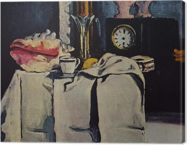Obraz na płótnie Paul Cézanne - Martwa natura z czarnym zegarem - Reprodukcje