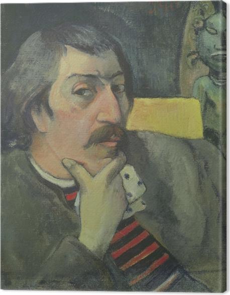 Obraz na płótnie Paul Gauguin - Autoportret z idolem - Reprodukcje