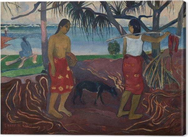 Obraz na płótnie Paul Gauguin - I raro te oviri (Pod pandanem) - Reprodukcje