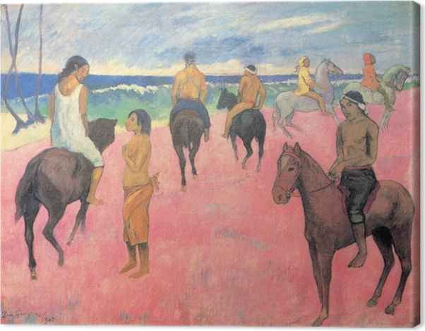 Obraz na płótnie Paul Gauguin - Jeźdżcy na plaży - Reprodukcje
