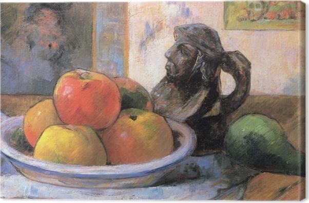 Obraz na płótnie Paul Gauguin - Martwa natura z jabłkami, gruszką i kubkiem w kształcie postaci - Reprodukcje