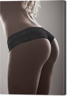 Obraz na płótnie Perfect sexy pośladki w czarnej bielizny