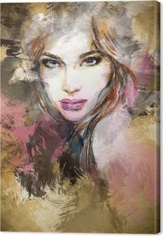 Obraz na płótnie Piękna twarz kobiety. Akwarele ilustracji