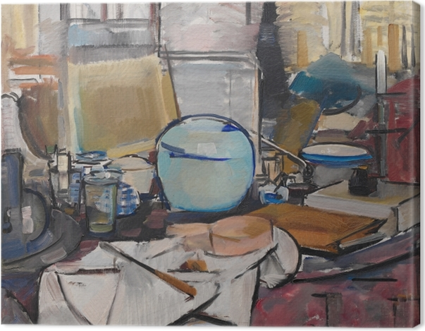 Obraz na płótnie Piet Mondrian - Martwa natura z dzbanem na imbir - Reprodukcje