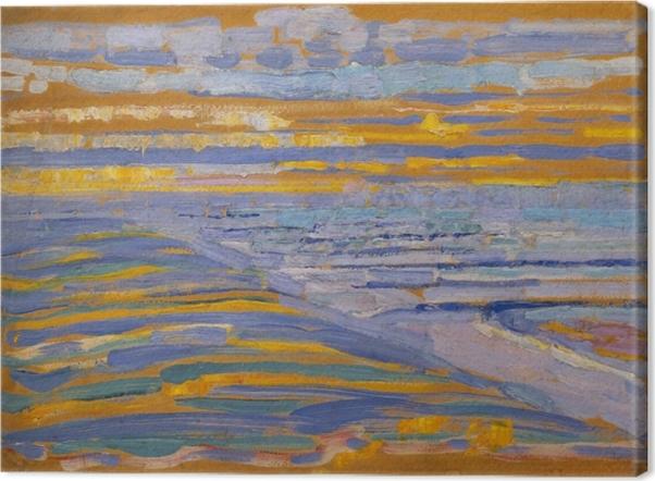 Obraz na płótnie Piet Mondrian - Widok z wydmy z plażą i pomostami - Reprodukcje